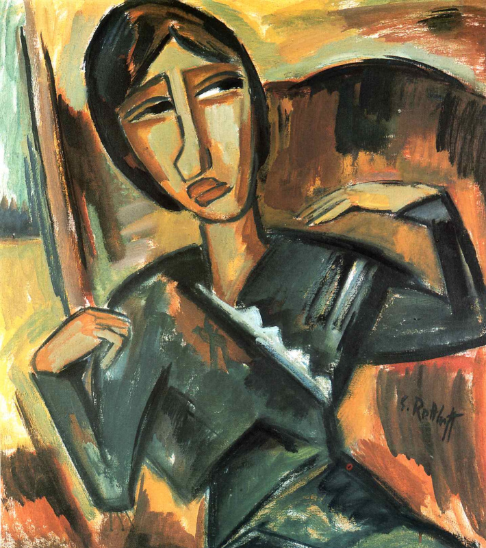 Karl Schmidt-Rottluff. Girl in green dress