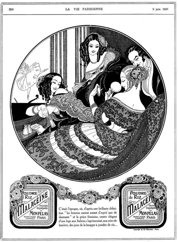 Герда Вегенер. Реклама пудры в журнале La Vie Parisienne от 5 июня 1920 года