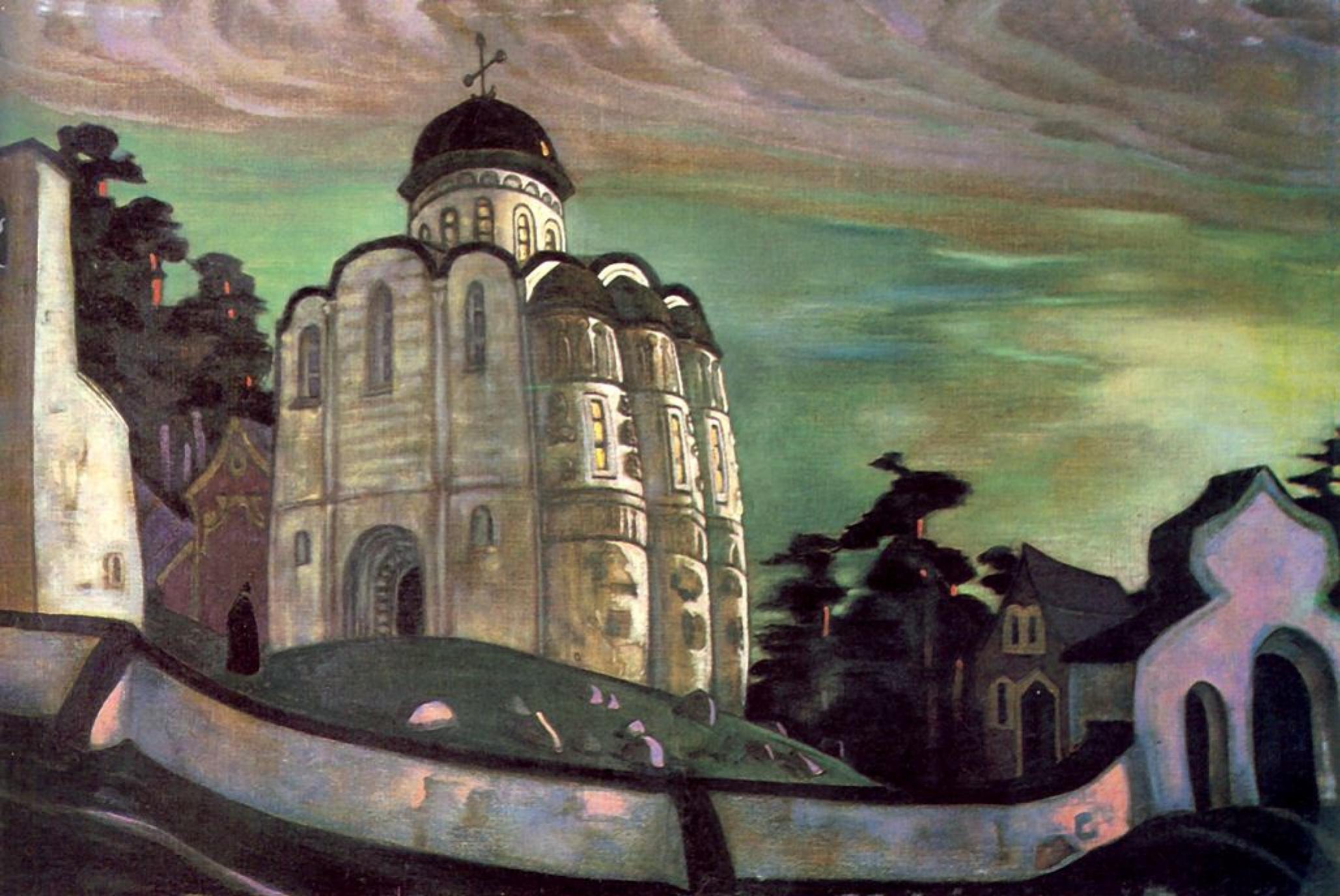 """Nicholas Roerich. A sketch of the scenery """"Monastery in Pskov"""" to the Opera N. Rimsky-Korsakov's """"The Maid Of Pskov"""""""