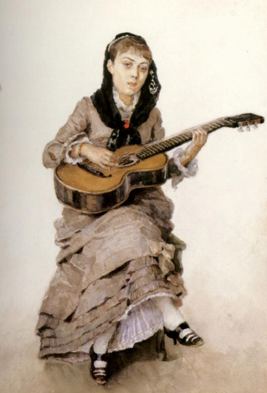 Vasily Ivanovich Surikov. With a guitar