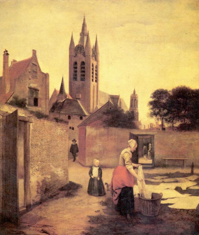 Питер де Хох. Женщина с ребенком отбеливает на поляне белье