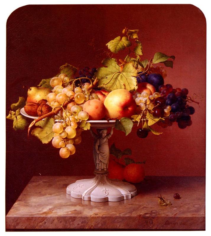 Иоганн Вильгельм Прейер. Натюрморт с вазы с фруктами на мраморном столе
