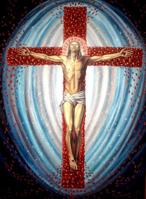 Распятие на гранатовом кресте