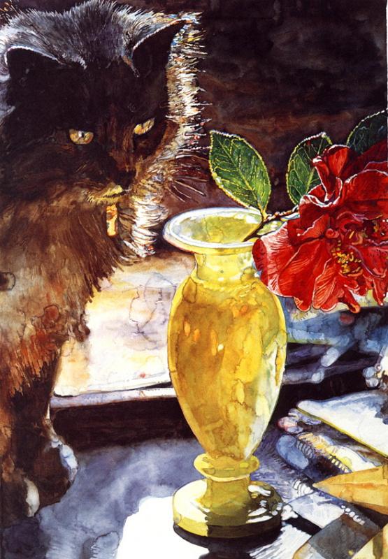 Джозеф Рафаэль. Черный кот у вазы с цветами