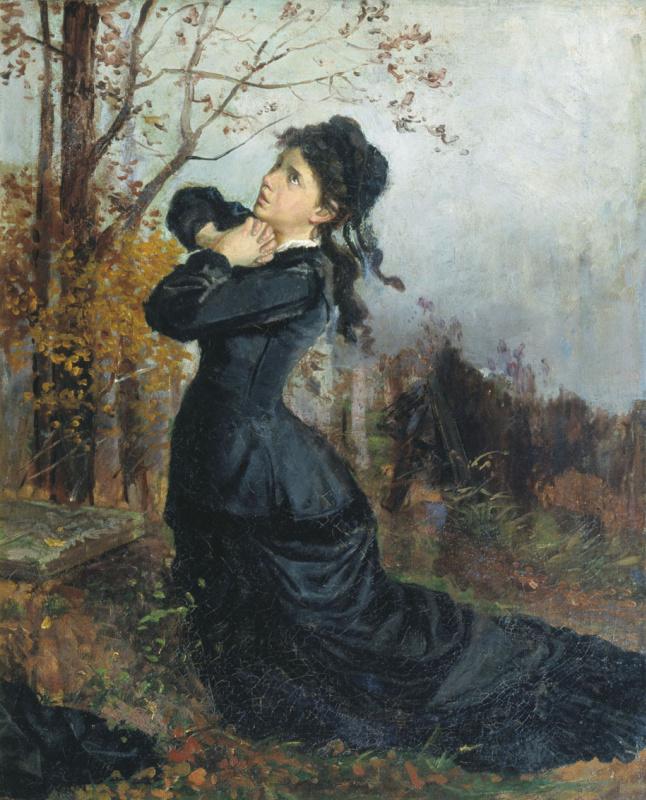 Николай Павлович Чехов. Молодая вдова на могиле мужа