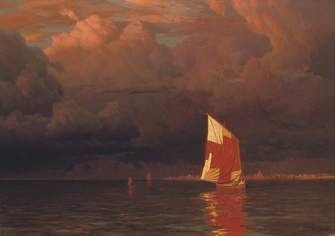Ivan Choultsé. Sailboat at sunset on the Gulf of Finland