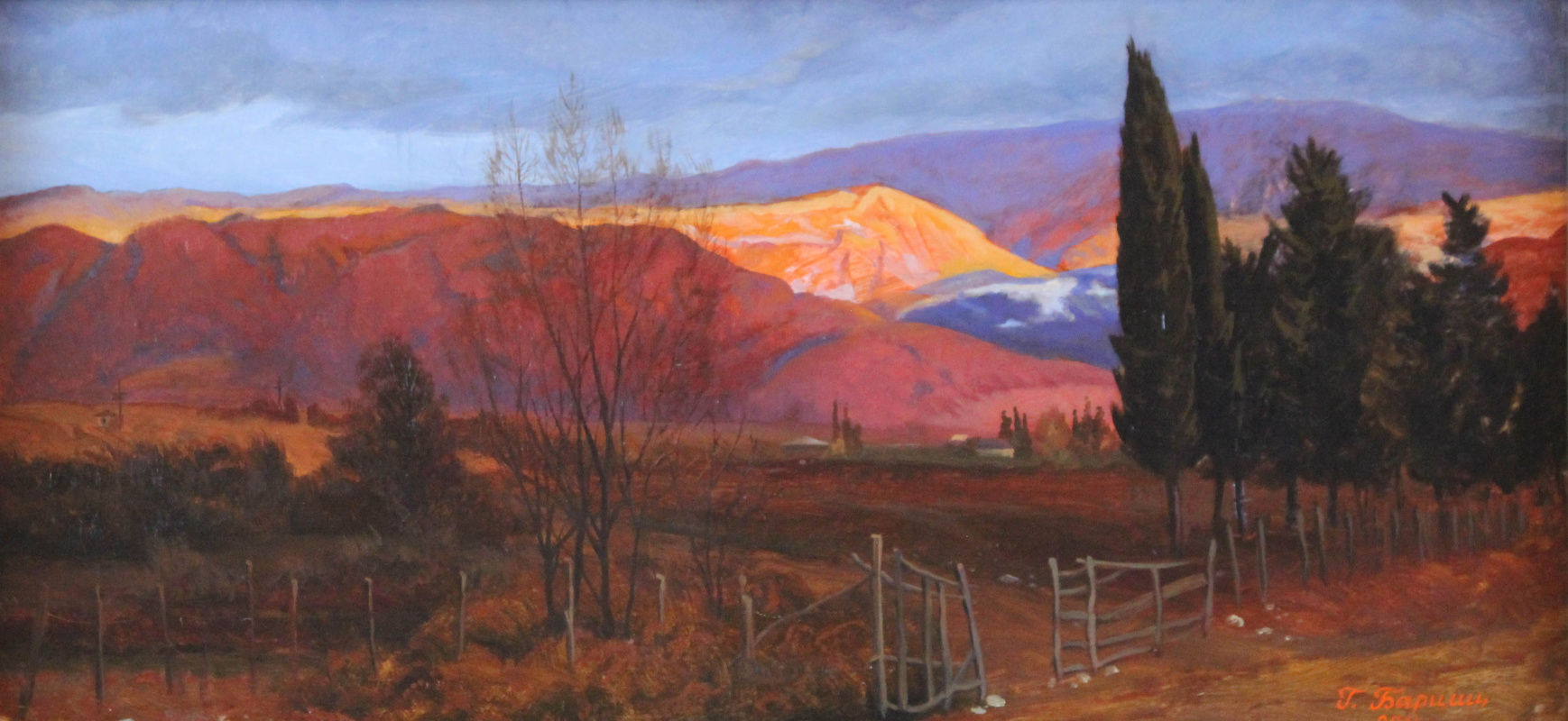 Gennady Shotovich Bartsyts (Bartsits). Winter evening in the mountains