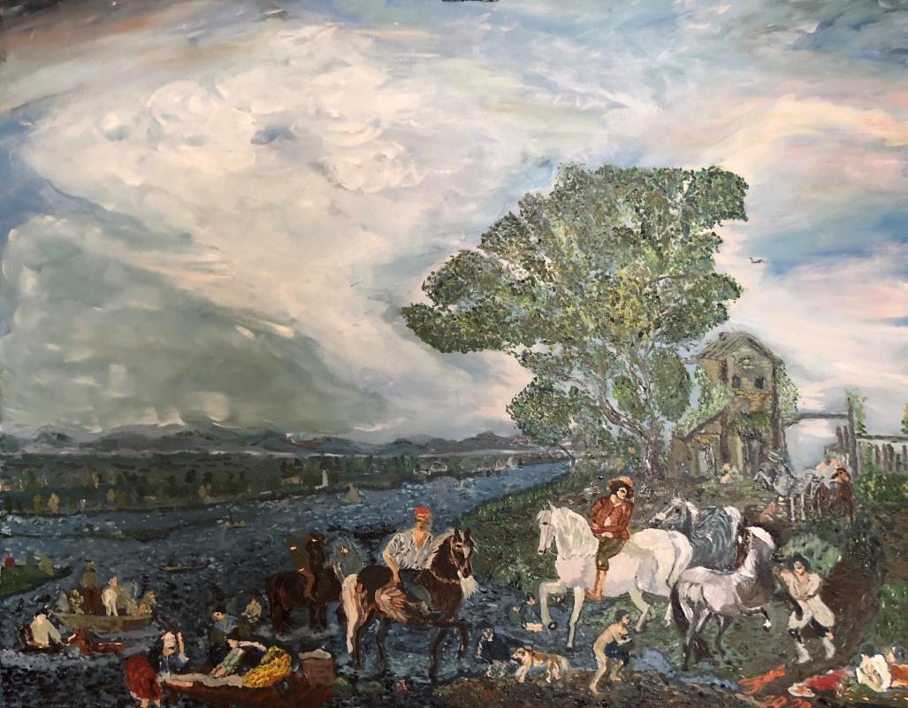 "Sergey Vladimirovich Sebini. Variation on the theme of Vauverman ""Huggy horse by the river"""