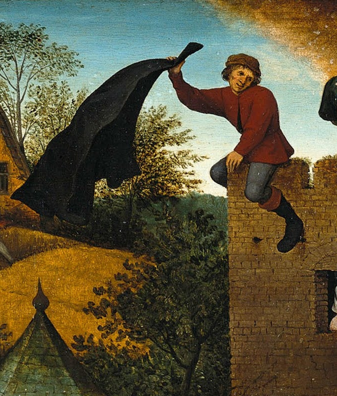 Pieter Bruegel The Elder. Flemish proverbs. Fragment: Hanging a raincoat downwind — adjust your opinion to the current moment.