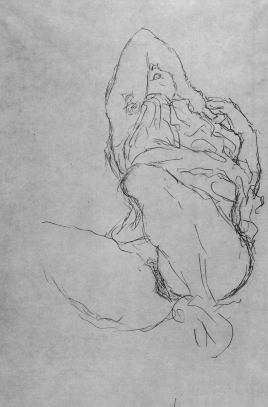 "Gustav Klimt. Reclining semi-Nude with face half-closed hand (Sketch for ""the Bride"")"