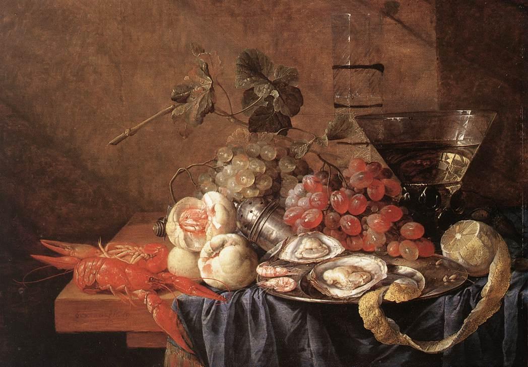 Ян Давидс де Хем. Натюрморт с фруктами и дарами моря