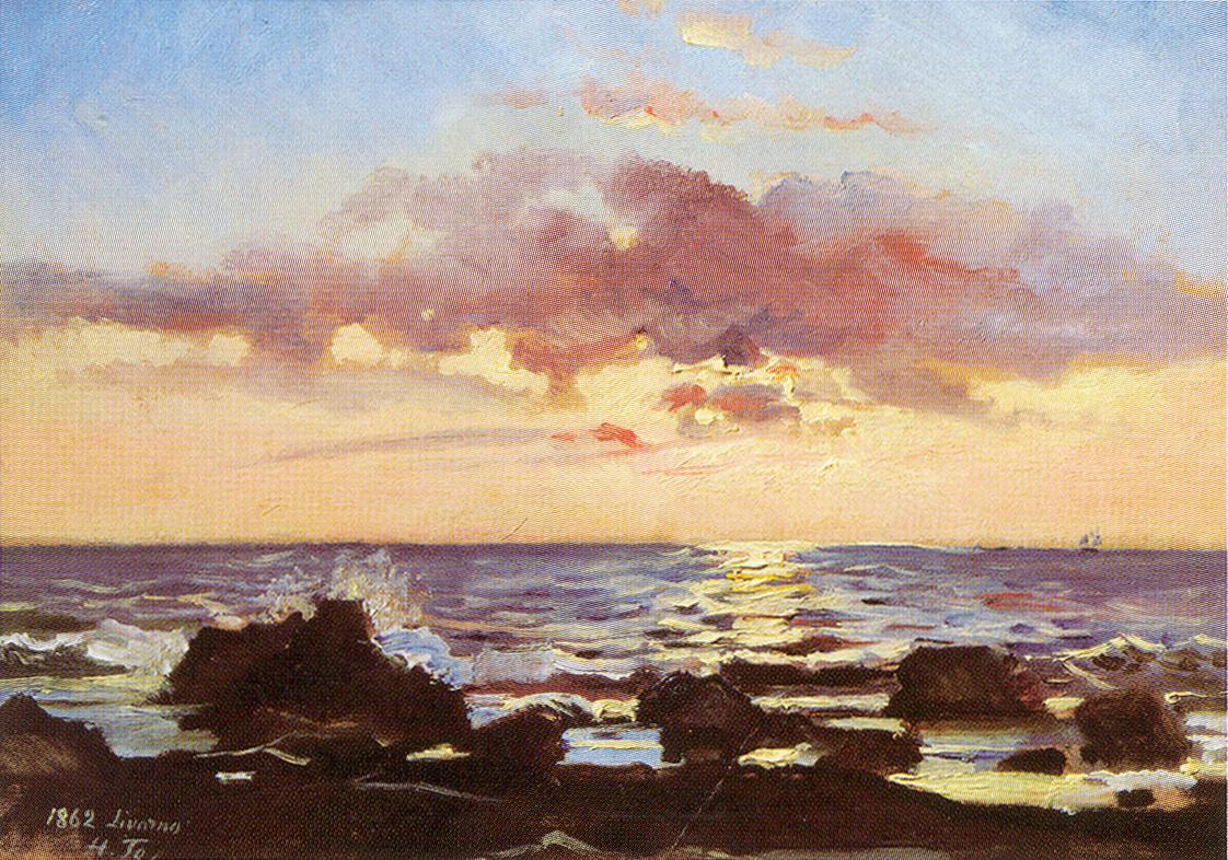 Николай Николаевич Ге. Закат на море в Ливорно
