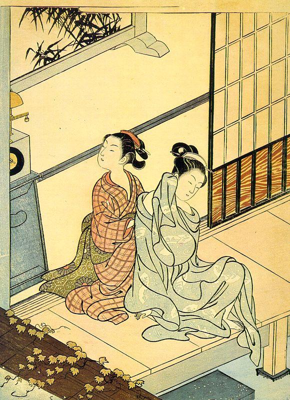 """Судзуки Харунобу. Вечерний звон часов. Серия """"Восемь сцен в гостиной"""""""