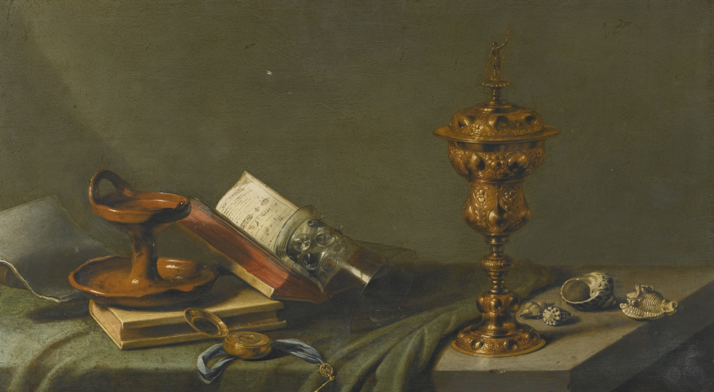 Pieter Claesz. Still life with oil lamp, notes, goblet and shells