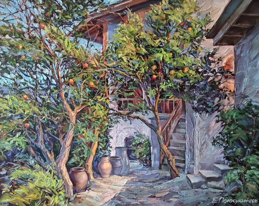 Evgeny Fedorovich Polosukhin. Athos. Pomegranate courtyard.