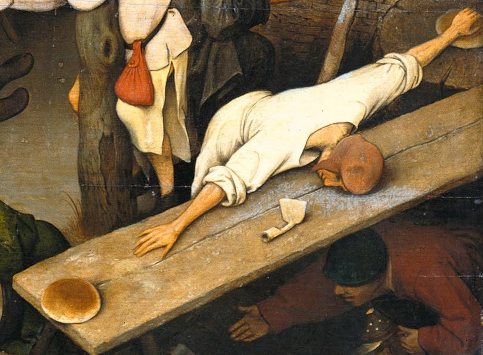 Pieter Bruegel The Elder. Flemish proverbs. Fragment: From a loaf of bread, not to reach another loaf - to have difficulties with money, with life according to the available means A hoe without a handle is something completely useless.