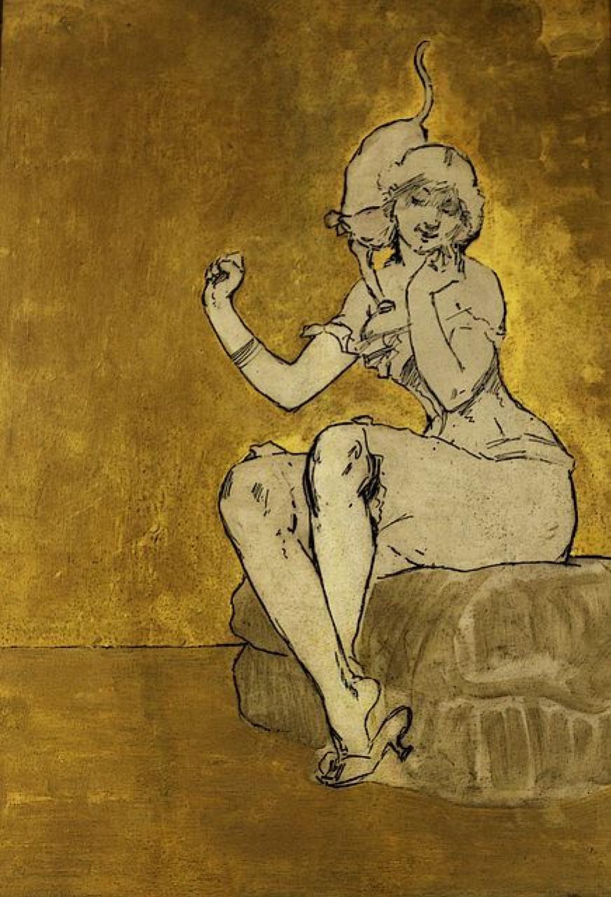 Адольф-Леон Виллет. Девушка с кошкой