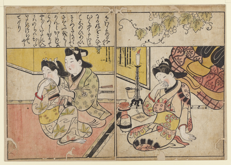 Hishikawa Moronobu. A man and two courtesans. The facing pages from the book