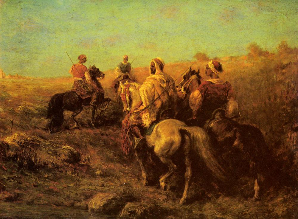 Адольф Шрейер. Арабские всадники рядом с водопоем