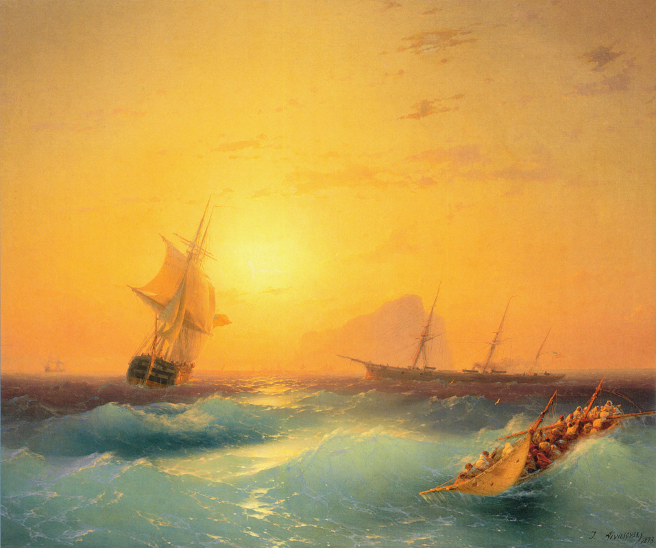 Ivan Aivazovsky. American ships at the cliff of Gibraltar