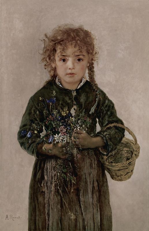 Антон Ромако. Крестьянская девочка с корзинкой хлеба и альпийскими цветами