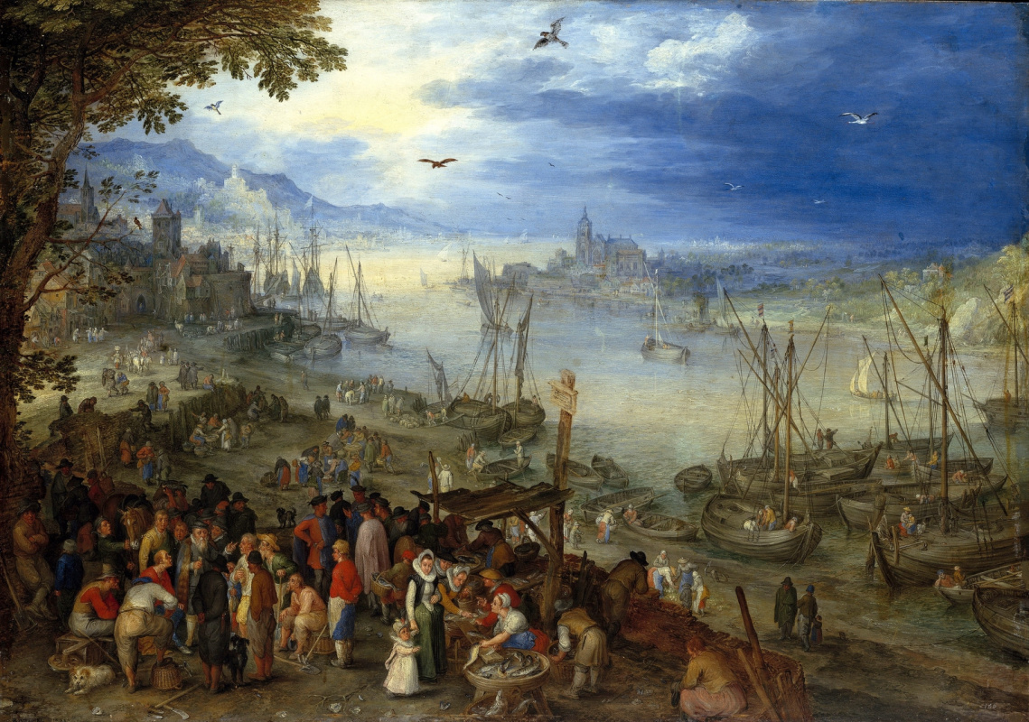 Jan Bruegel The Elder. Big fish market. 1603