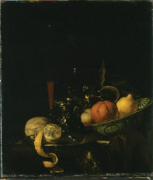 Yurian van Strek. Still life (oranges, lemon and the wine in the glass)