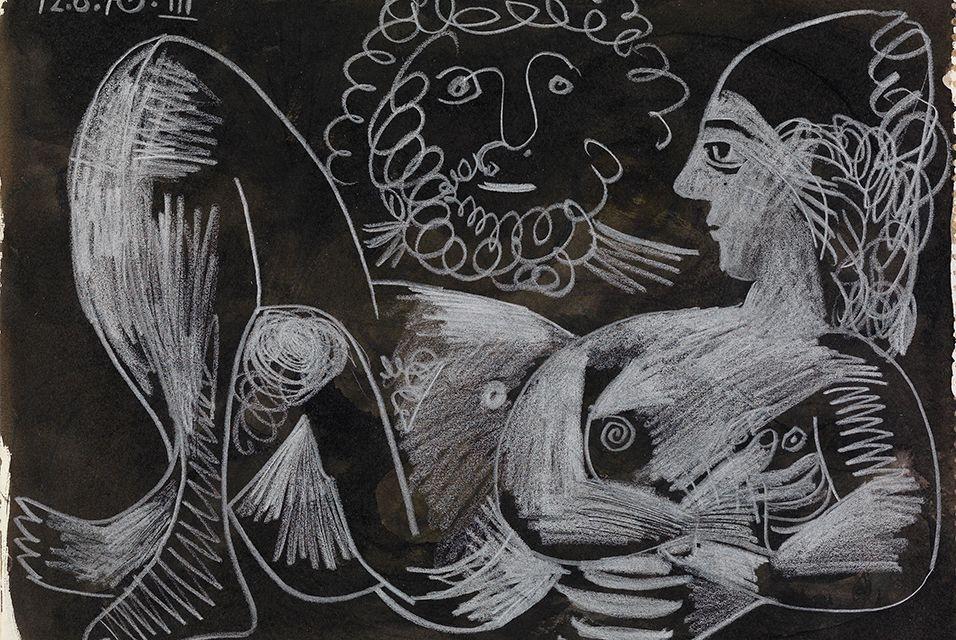 Пабло Пикассо. Лежащая обнажённая и бородатая голова