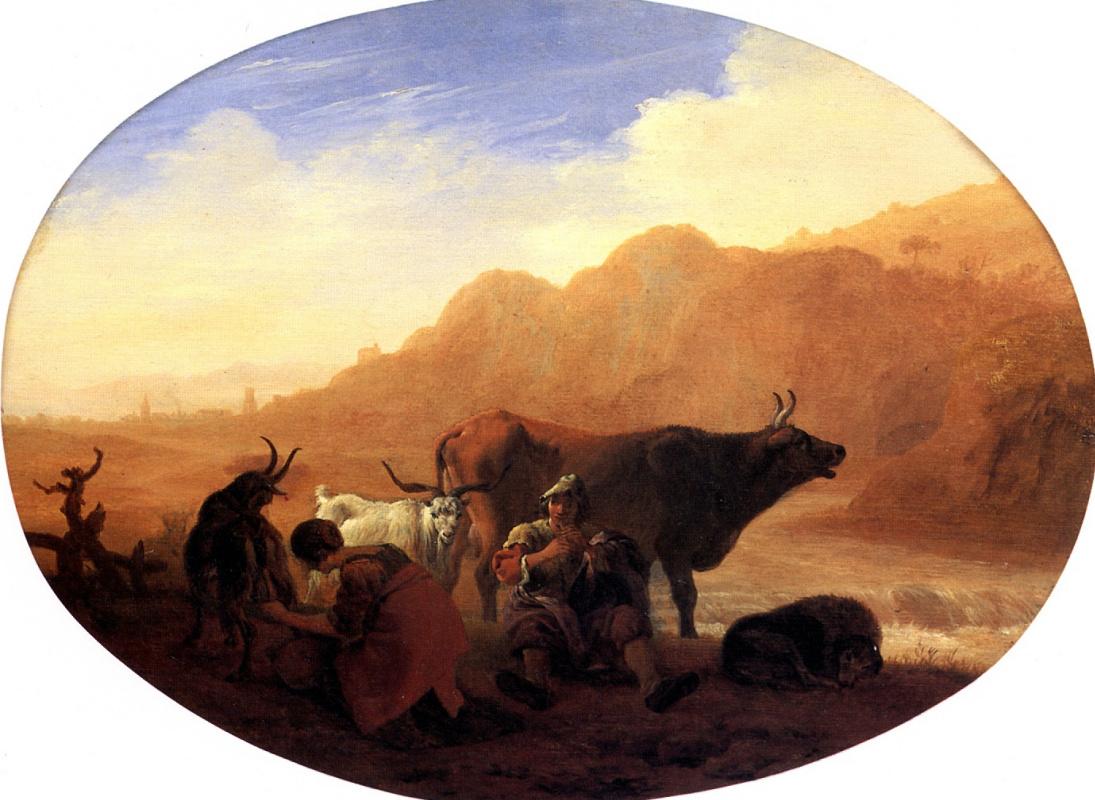 Бамбоччо. Пастухи в гористом пейзаже