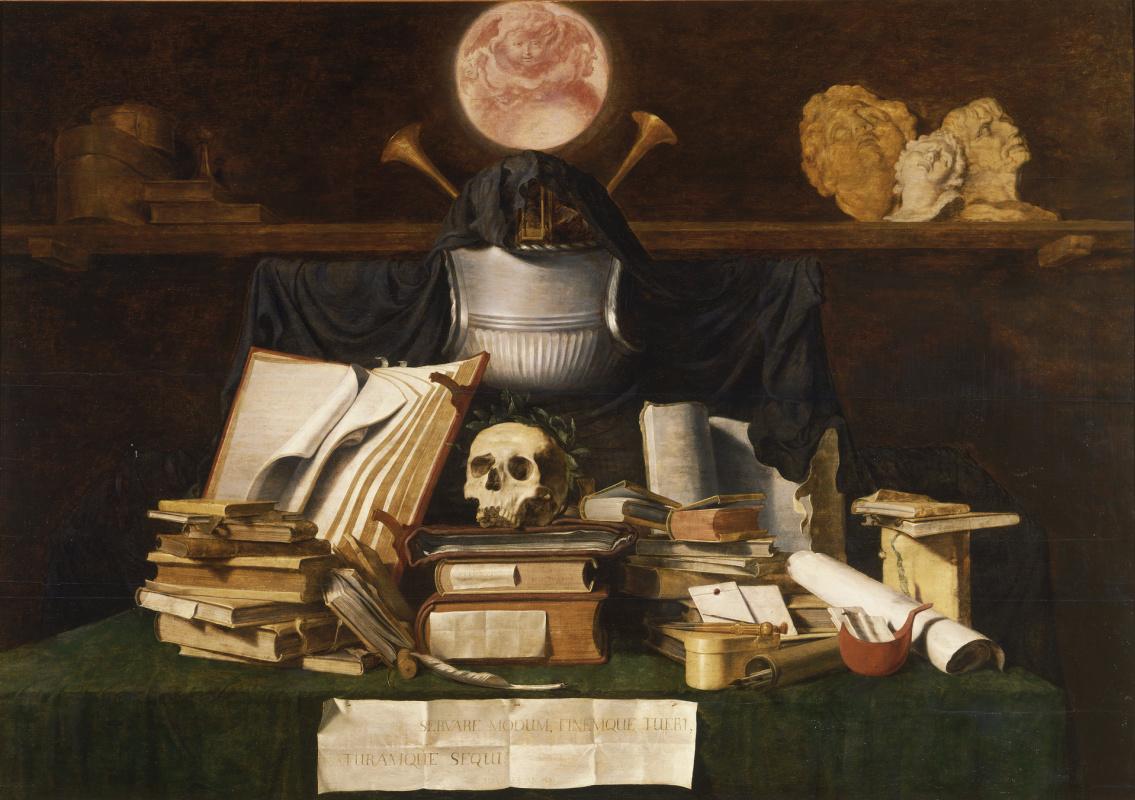 Jacob de Heine. Vanitas. Still life with a skull and books