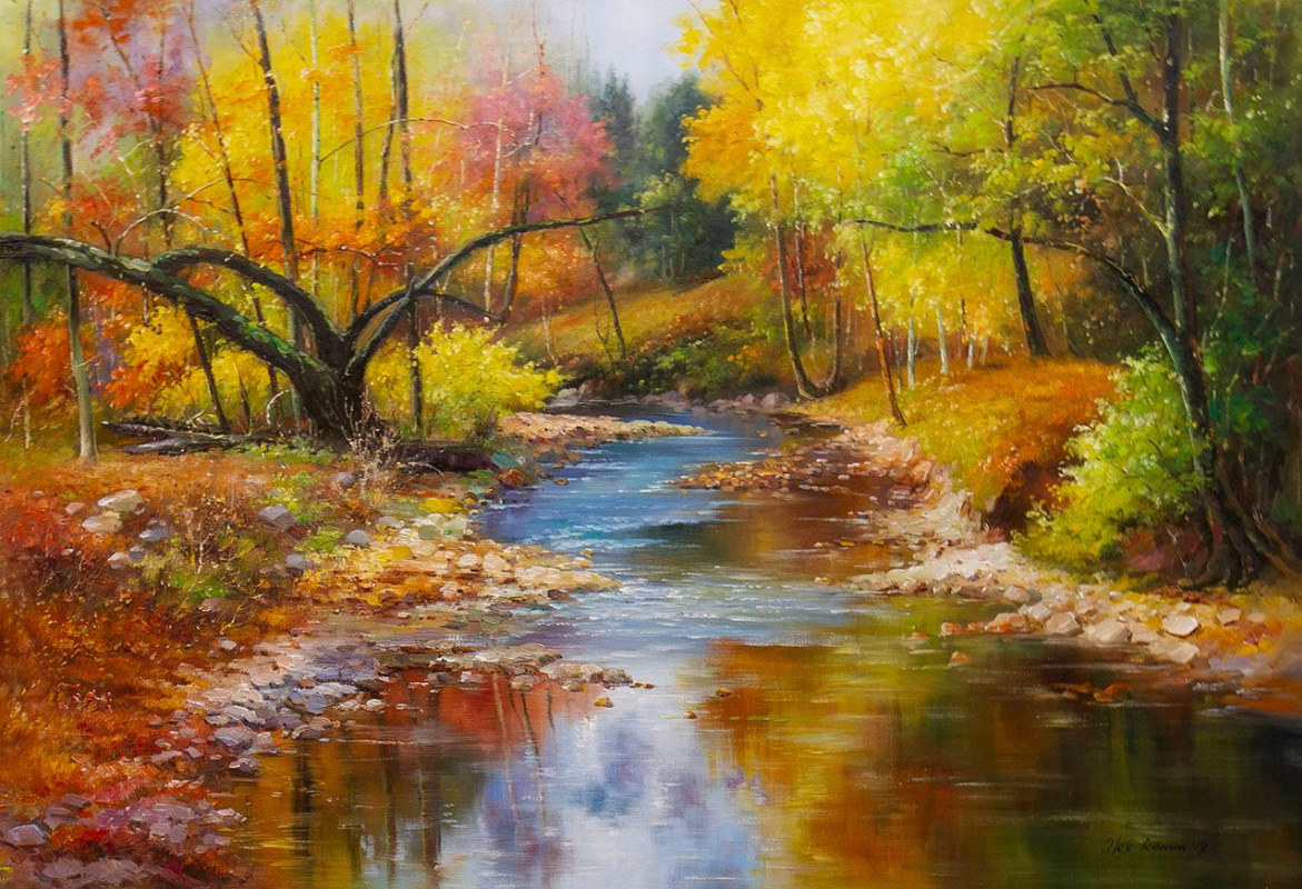 Alexander Romm. Stream in the forest. Landscape in autumn colors