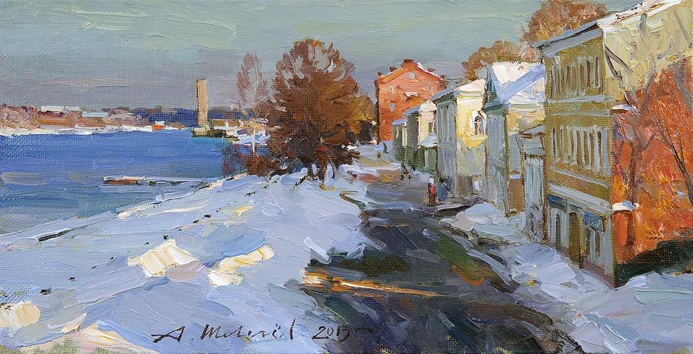 Alexander Victorovich Shevelyov. Rybinsk.The waterfront views. Oil on canvas 21 5 x 41, 5 cm 2013