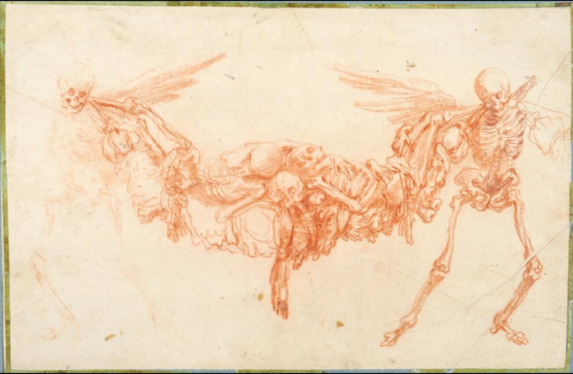 Антуан Ватто. Два скелета, несущих гирлянду