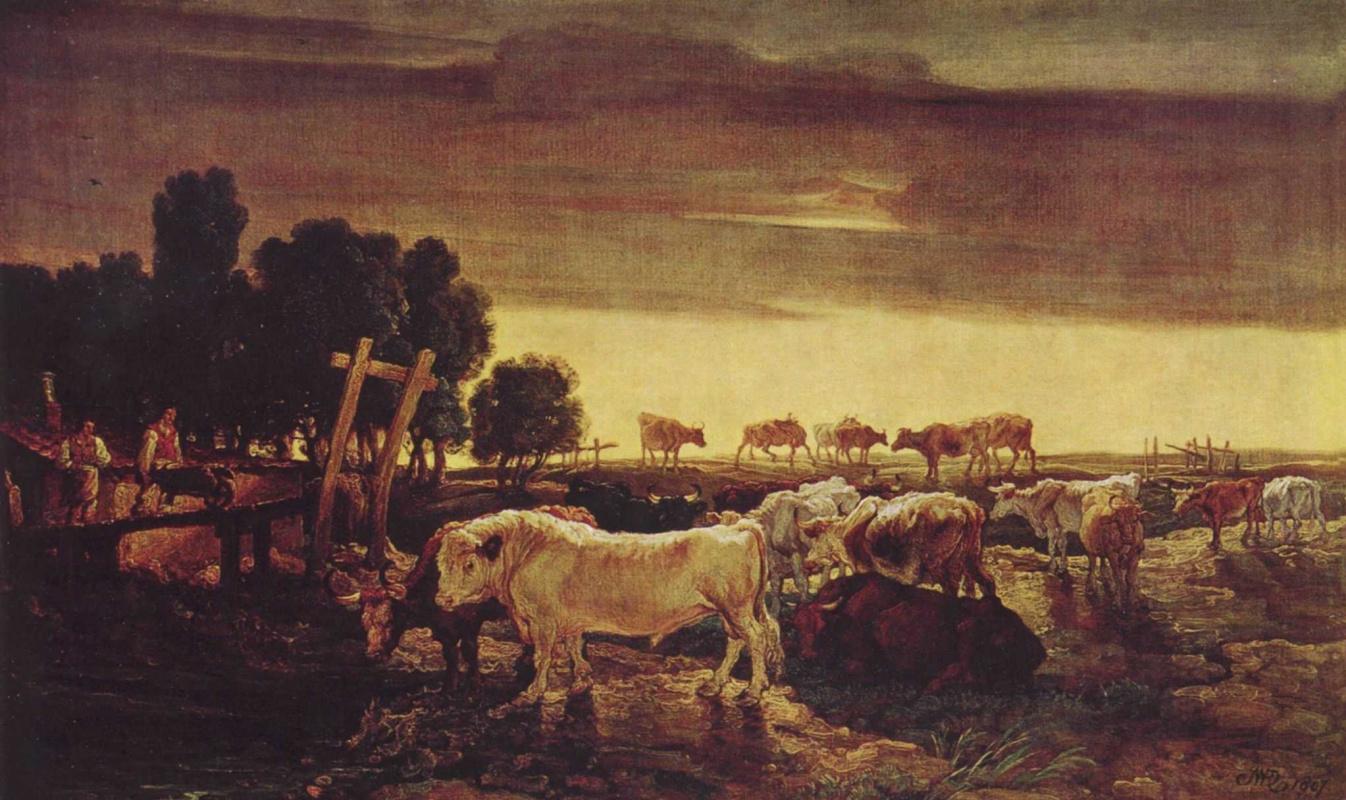Джеймс Уорд. Риджентс-парк: коровье стадо