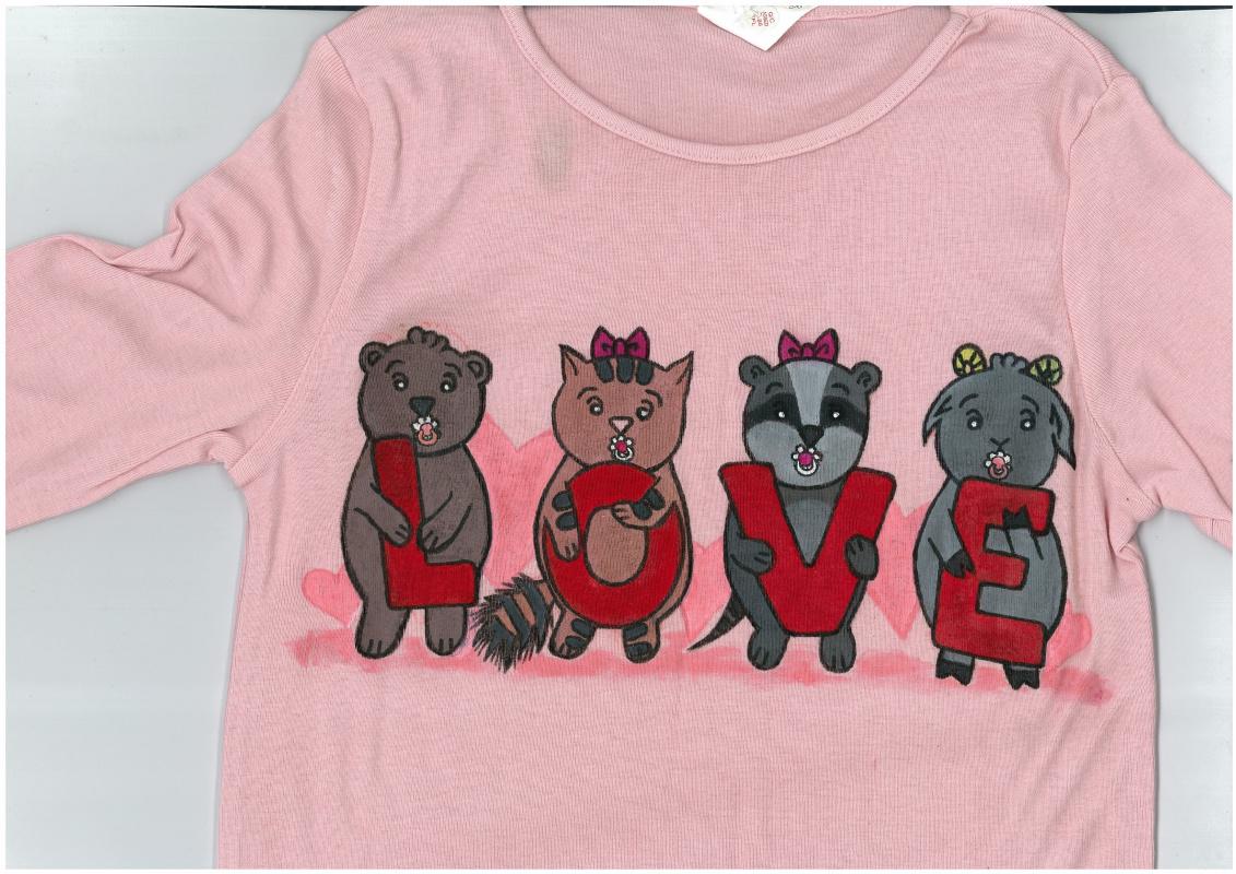 """Ирина Владимировна Хазэ. Children's long sleeve shirt """"Love"""" with handmade painting"""