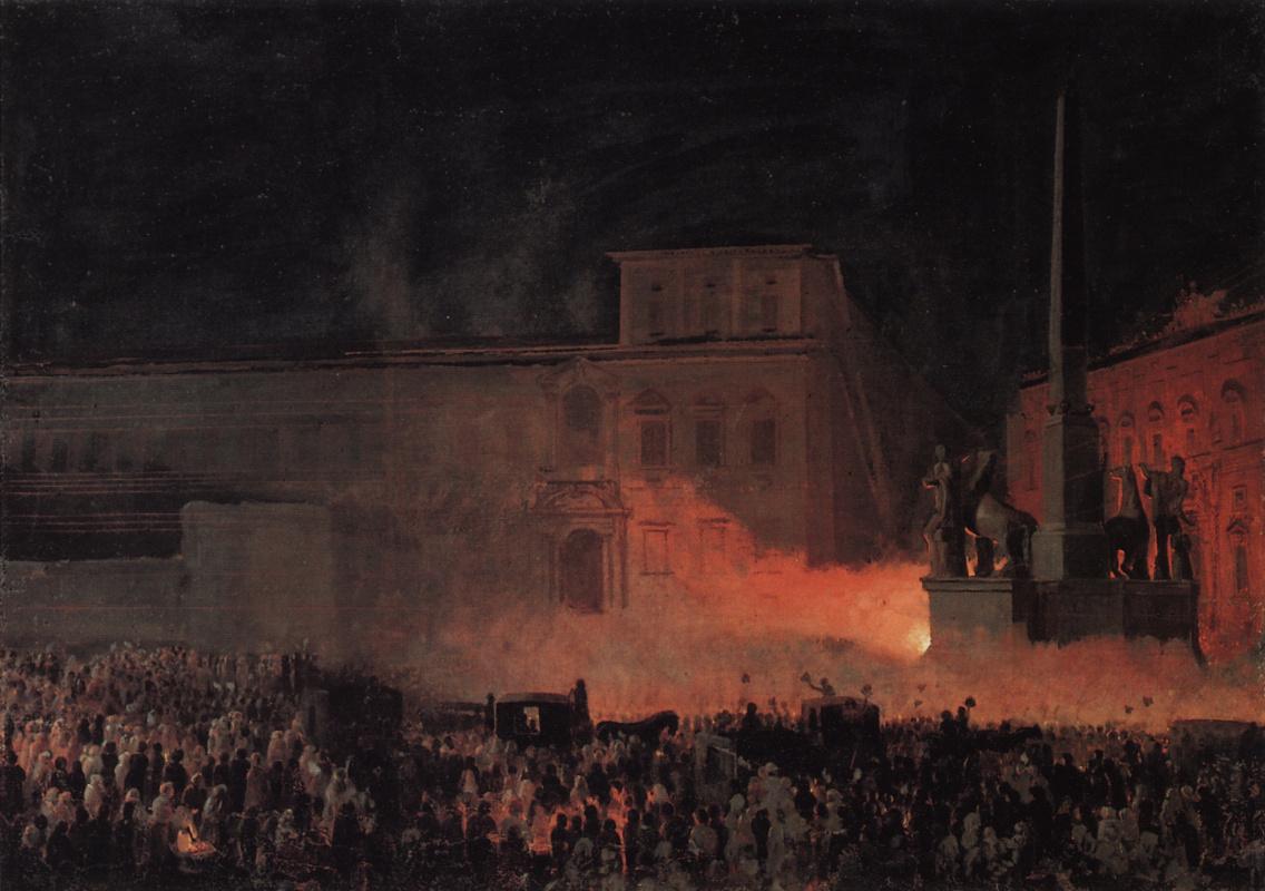 Karl Bryullov. Political demonstration in Rome in 1846. Sketch