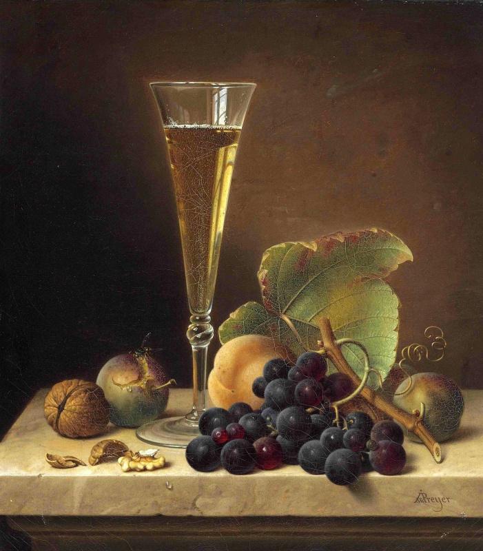 Johann Wilhelm Preyer. Fruit and champagne glass on a marble ledge.