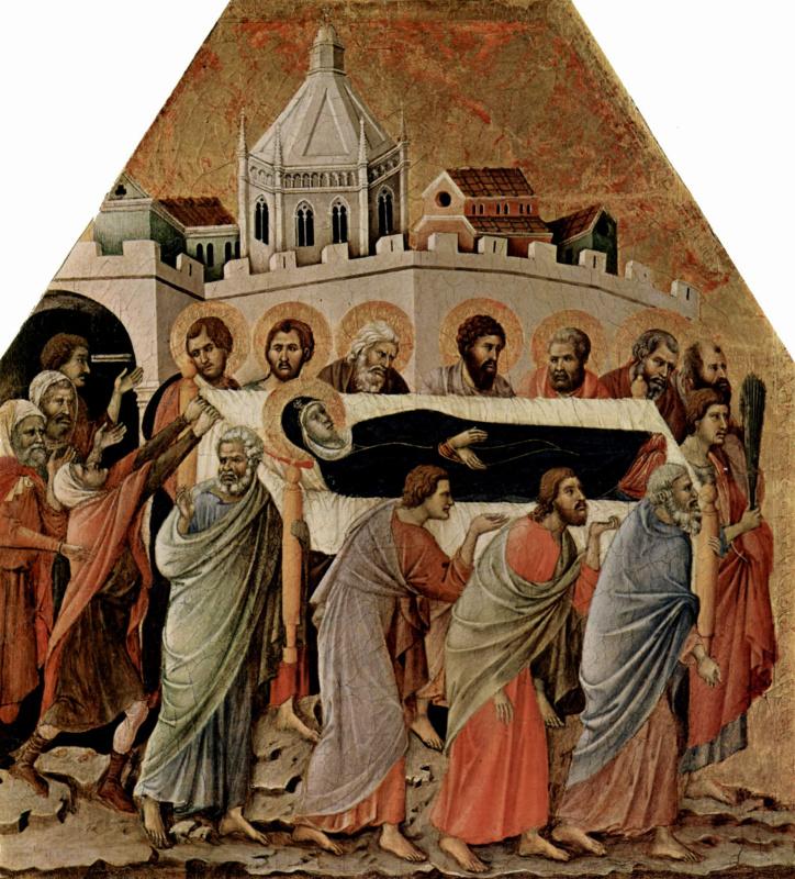 Дуччо ди Буонинсенья. Маэста, алтарь сиенского кафедрального собора, передняя сторона, Алтарь со сценами Успения Марии: Погребение Марии