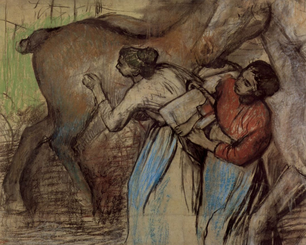 Edgar Degas. Two laundresses and a horse