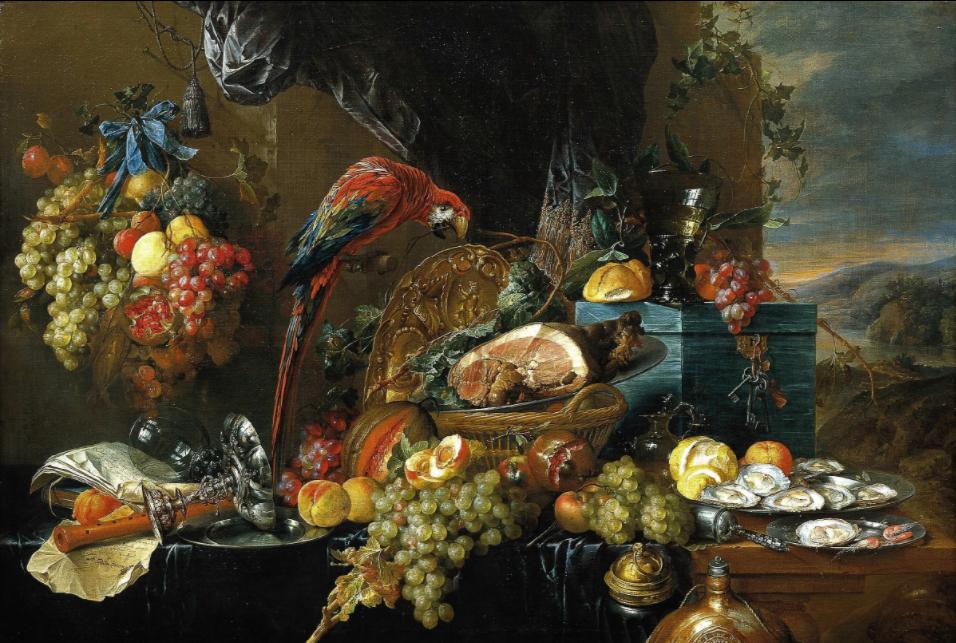 Jan Davids de Hem. Натюрморт с попугаем