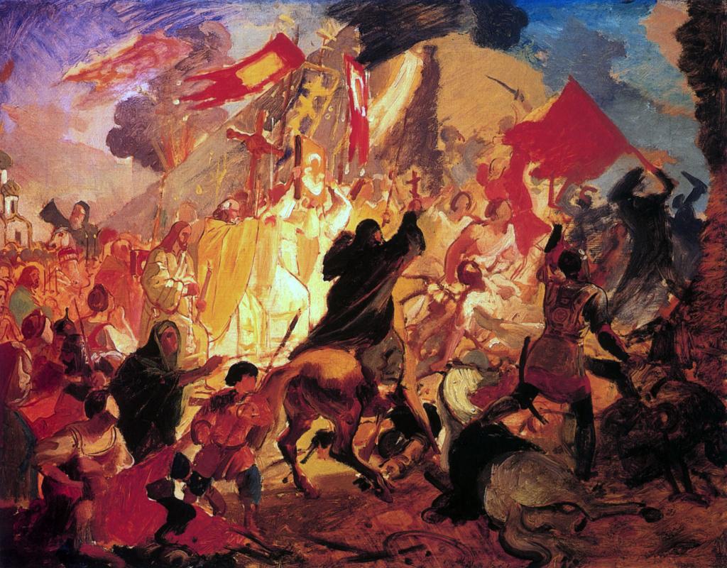 Karl Bryullov. The siege of Pskov by Polish king Stefan Batory in 1581. Sketch