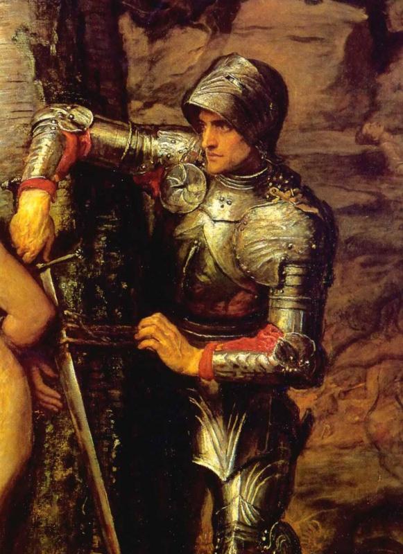 John Everett Millais. Knight-errant. Fragment