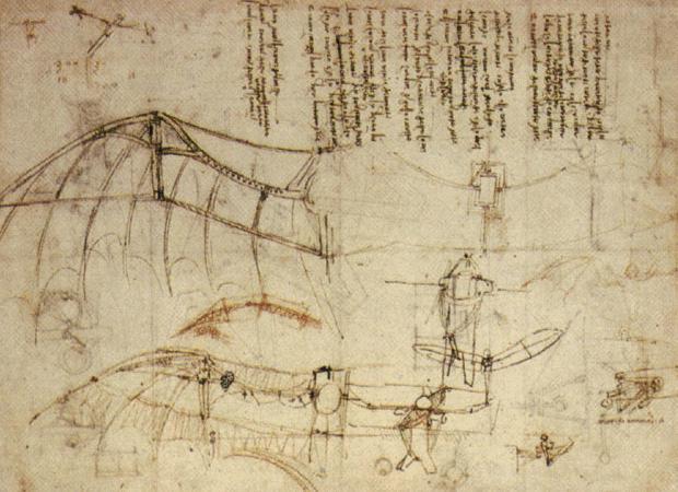 Леонардо да Винчи. Чертеж летательного аппарата