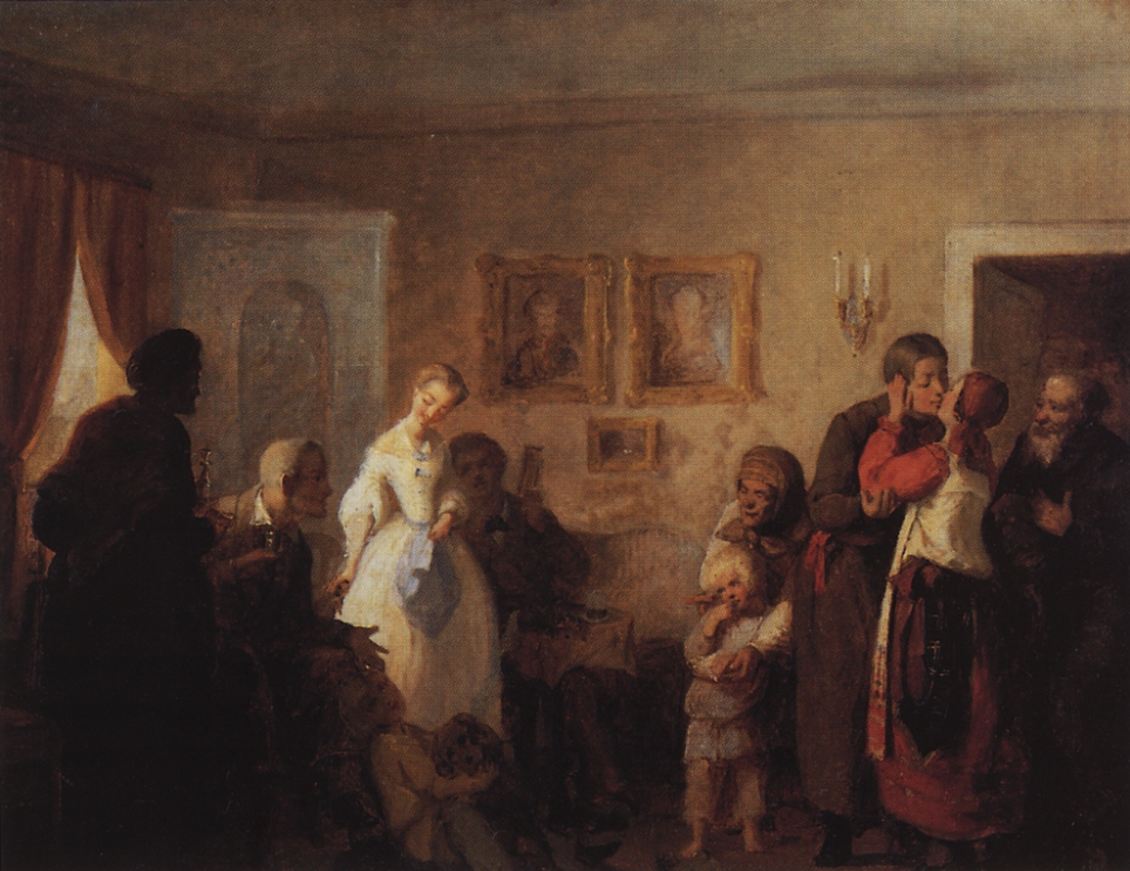Grigory Grigorievich Myasoedov. Congratulations to the young in the house of the landowner. Sketch State Tretyakov Gallery, Moscow