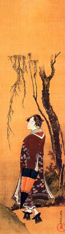 Кацусика Хокусай. Красавица с зонтом под ивой