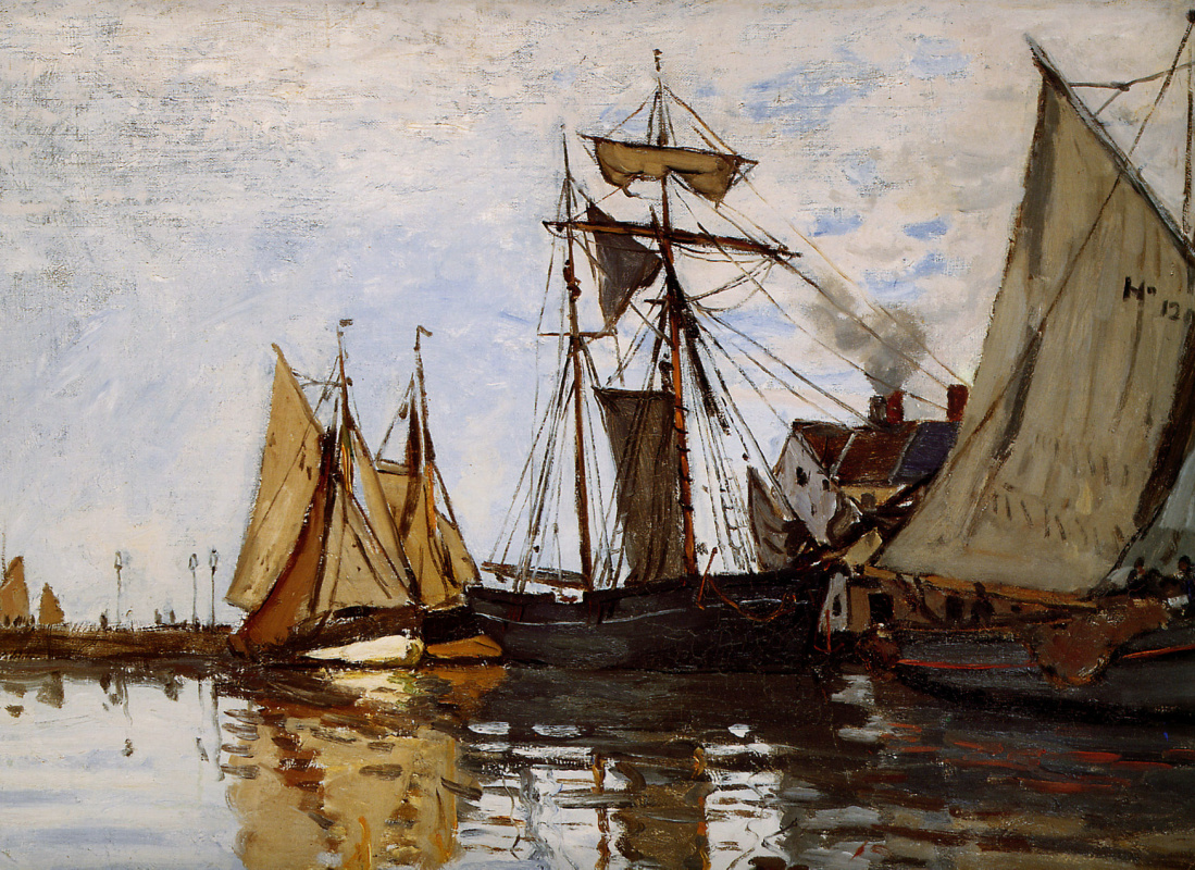 Claude Monet. Boats in the port of Honfleur