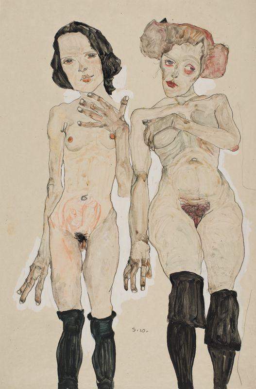 Эгон Шиле. Две обнаженные девушки в черных чулках