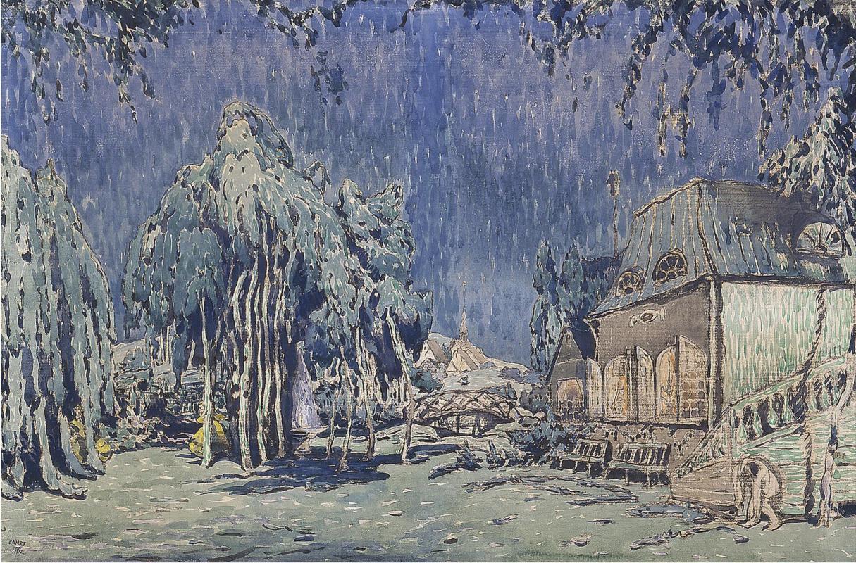 "Lev Samoilovich Bakst (Leon Bakst). A sketch of the scenery for the ballet ""Butterfly"""