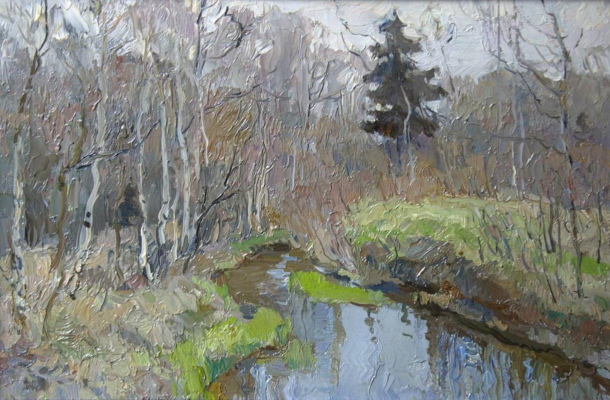 Boris Petrovich Zakharov. The April brook. Elk Island. Etude.