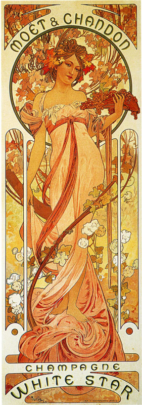 "Alfons Mucha. Advertising poster ""the moët and Chandon: Champagne white star"""